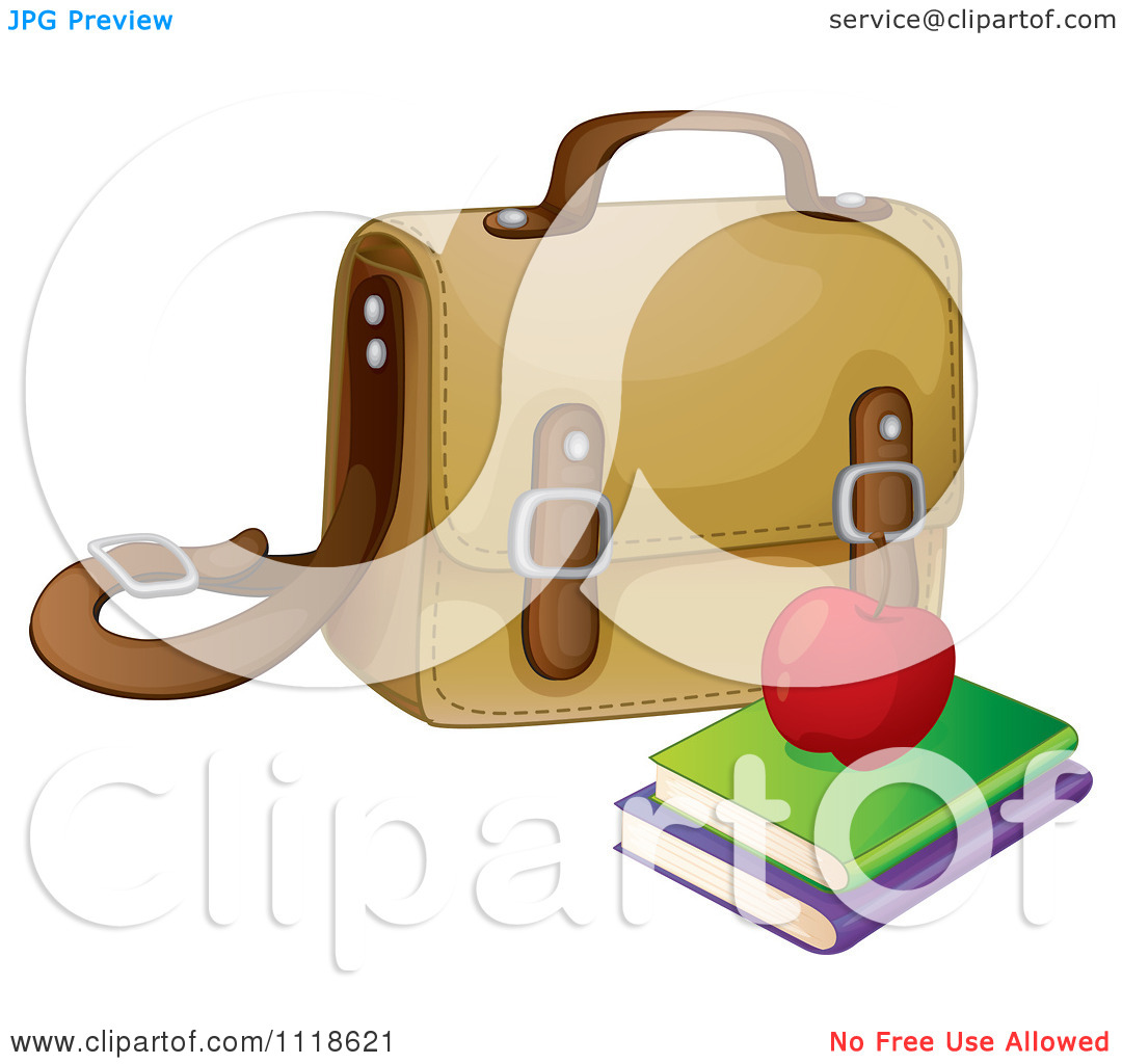 Vector Clipart Of A Apple And Books By A Bag.