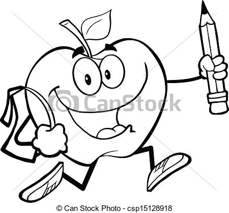 Vector Clip Art of Outlined Apple With School Bag.