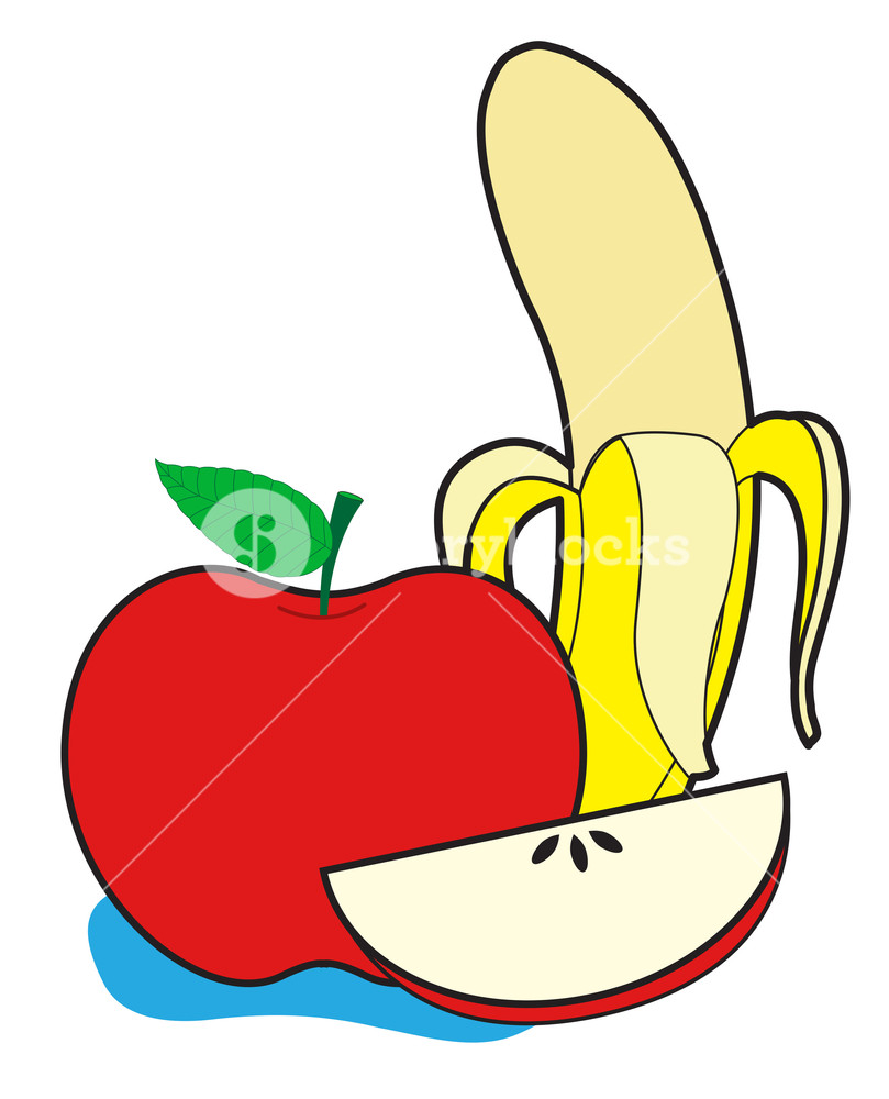 Banana And Apple Vector Royalty.