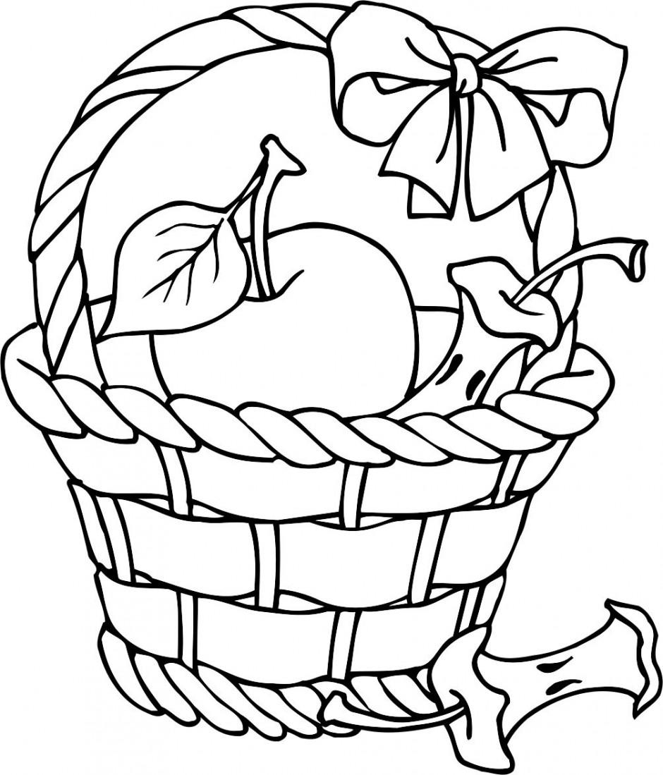 Apple Basket Clipart Outline