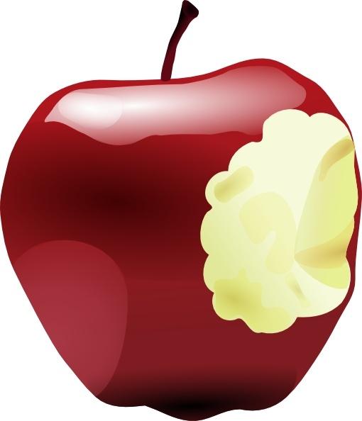 Apple Bitten clip art Free vector in Open office drawing svg.