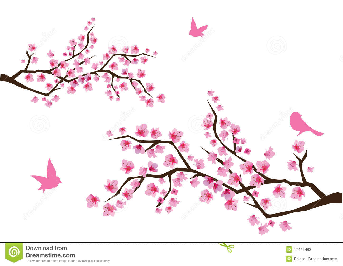 Kids Sharing Clipart Black And White Apple blossom branch c...