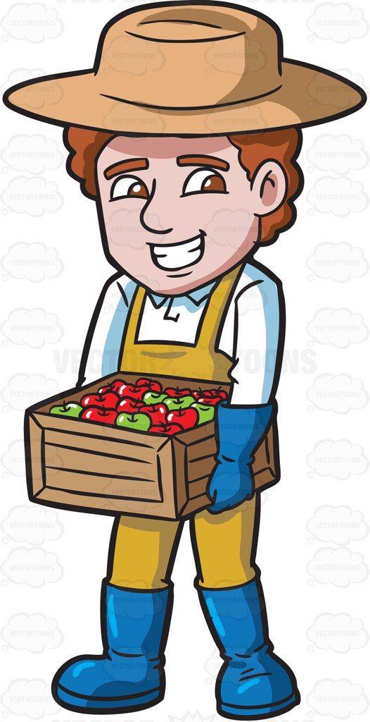 A farmer carrying a box of apples #cartoon #clipart #vector.