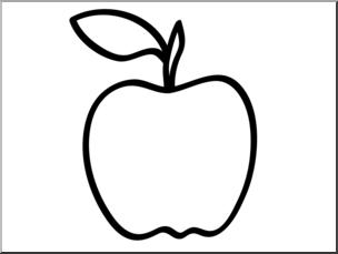 Clip Art: Basic Words: Apple 2 B&W Unlabeled I abcteach.com.