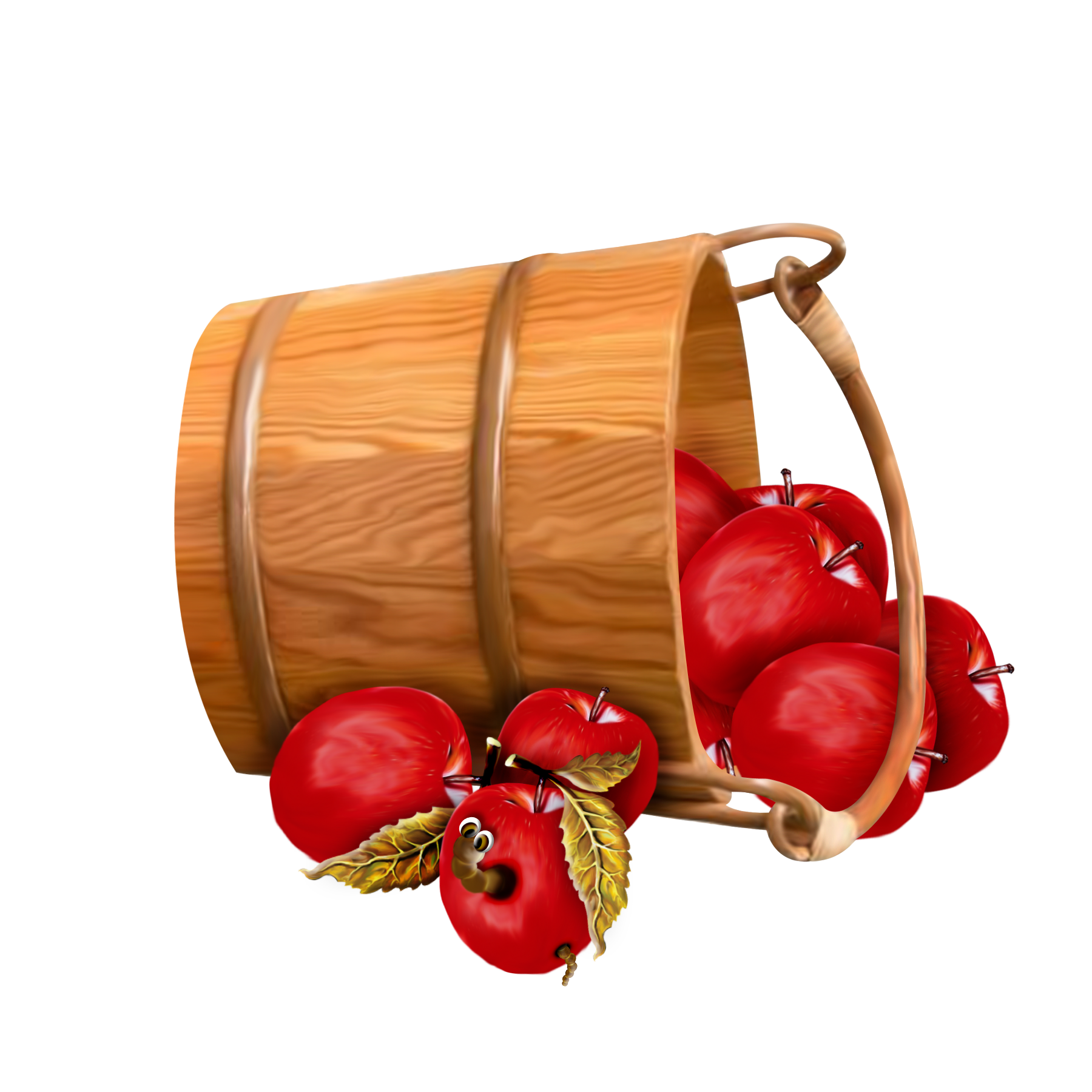 Bucket with Apples Transparent Clipart.