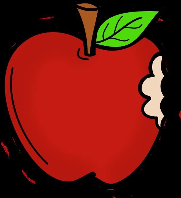Cartoon Apple With A Bite Clipart.