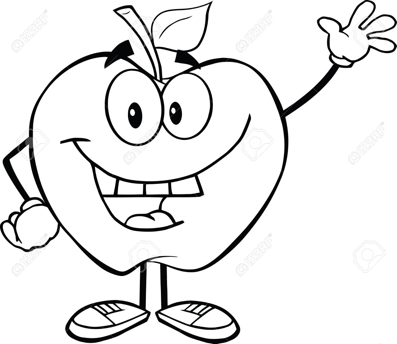 Apple Cartoon Clipart Black And White.