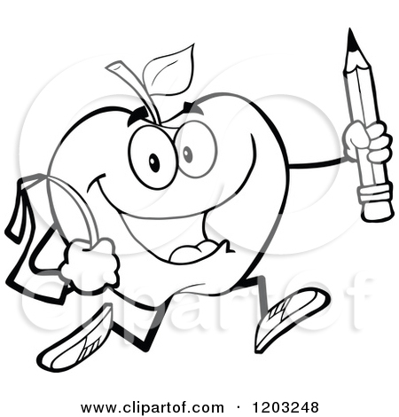 Teacher Apple Clipart Black And White.