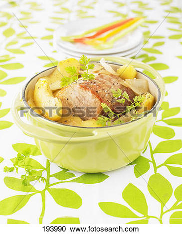 Stock Photography of Roast pork and apple casserole 193990.