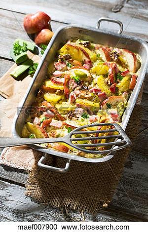 Stock Photography of smoked pork chop casserole with potatoe.