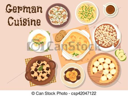 Vector Illustration of German cuisine traditional dinner icon.