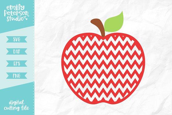 Monogram Chevron Apple SVG DXF ~ Illustrations ~ Creative Market.
