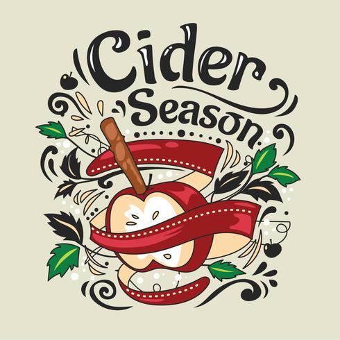 Doodle Illustration with Hot Drink Apple Cider.