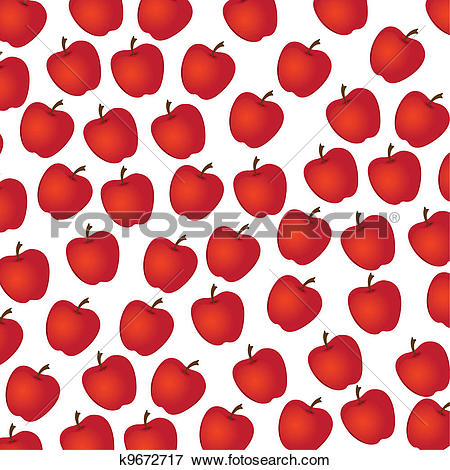 Clip Art of apple pattern on white background k9672717.