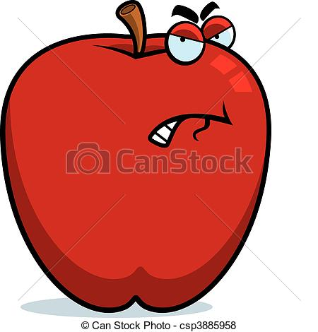 Clip Art of Angry apple isolated over white background csp9195562.