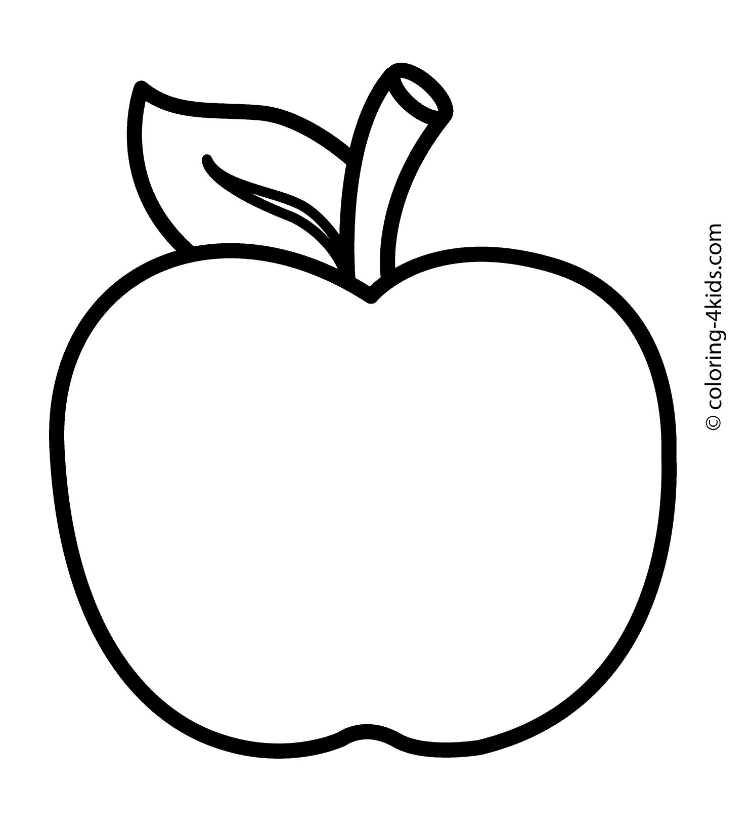 Cartoon Apple Coloring Pages.