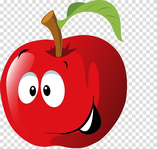 Fruit Cartoon , Cute Apple transparent background PNG.