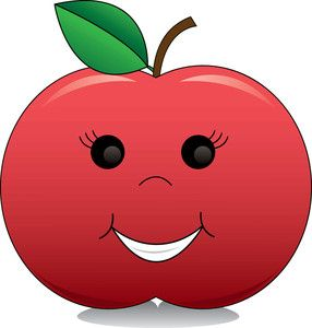 Apple Clipart Image: Cartoon Apple With a Smiling Face.