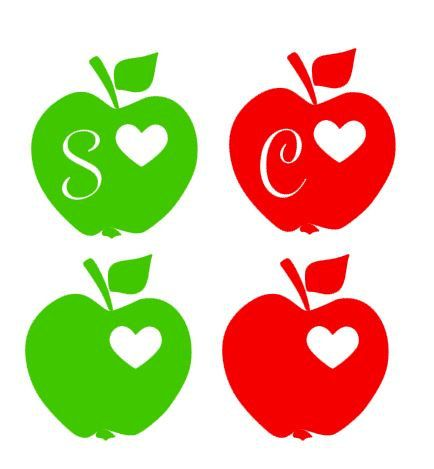 Teacher clipart heart apple.
