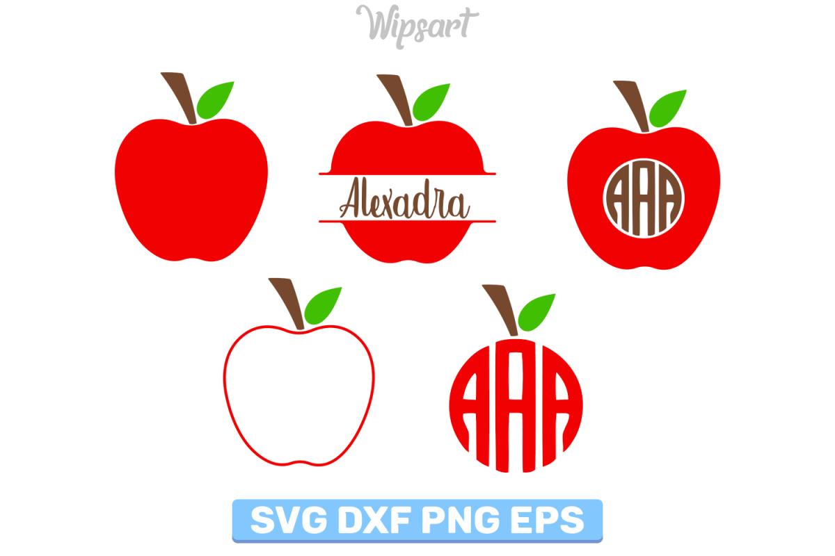 Apple svg, apple monogram svg, school svg, teacher svg, png.
