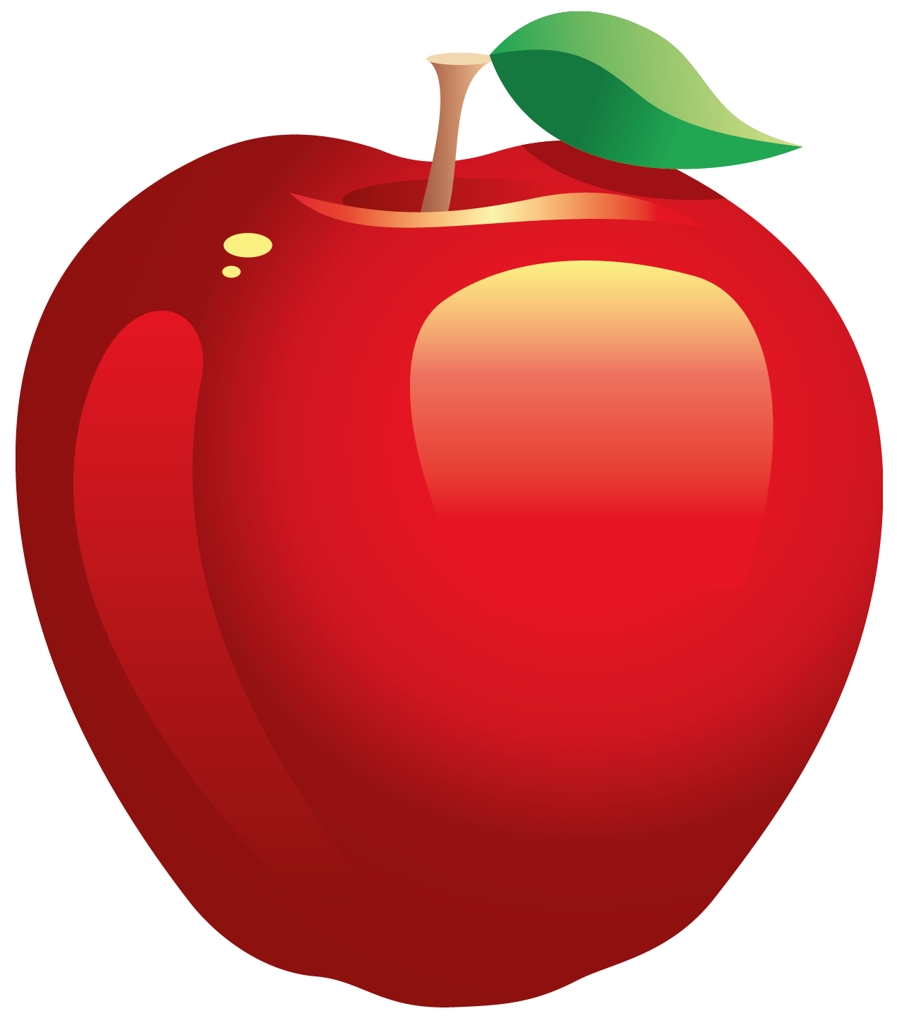 Realistic Vector Red Apple Clipart.