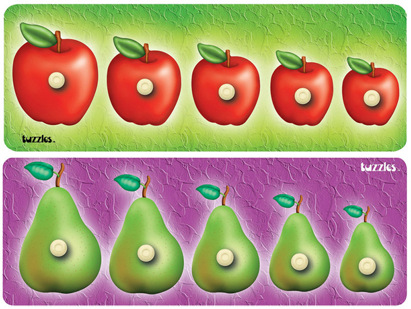 Tuzzles Apple & Pear Sequence Knob Puzzles.