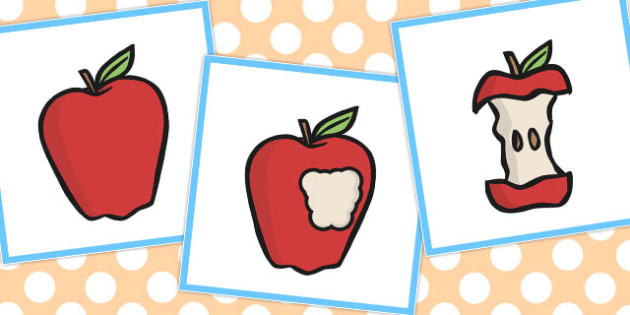 3 Step Sequencing Cards Eating An Apple.
