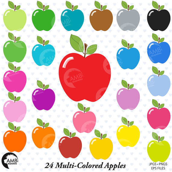 Apple Clipart, Apples Clip Art, Multi.
