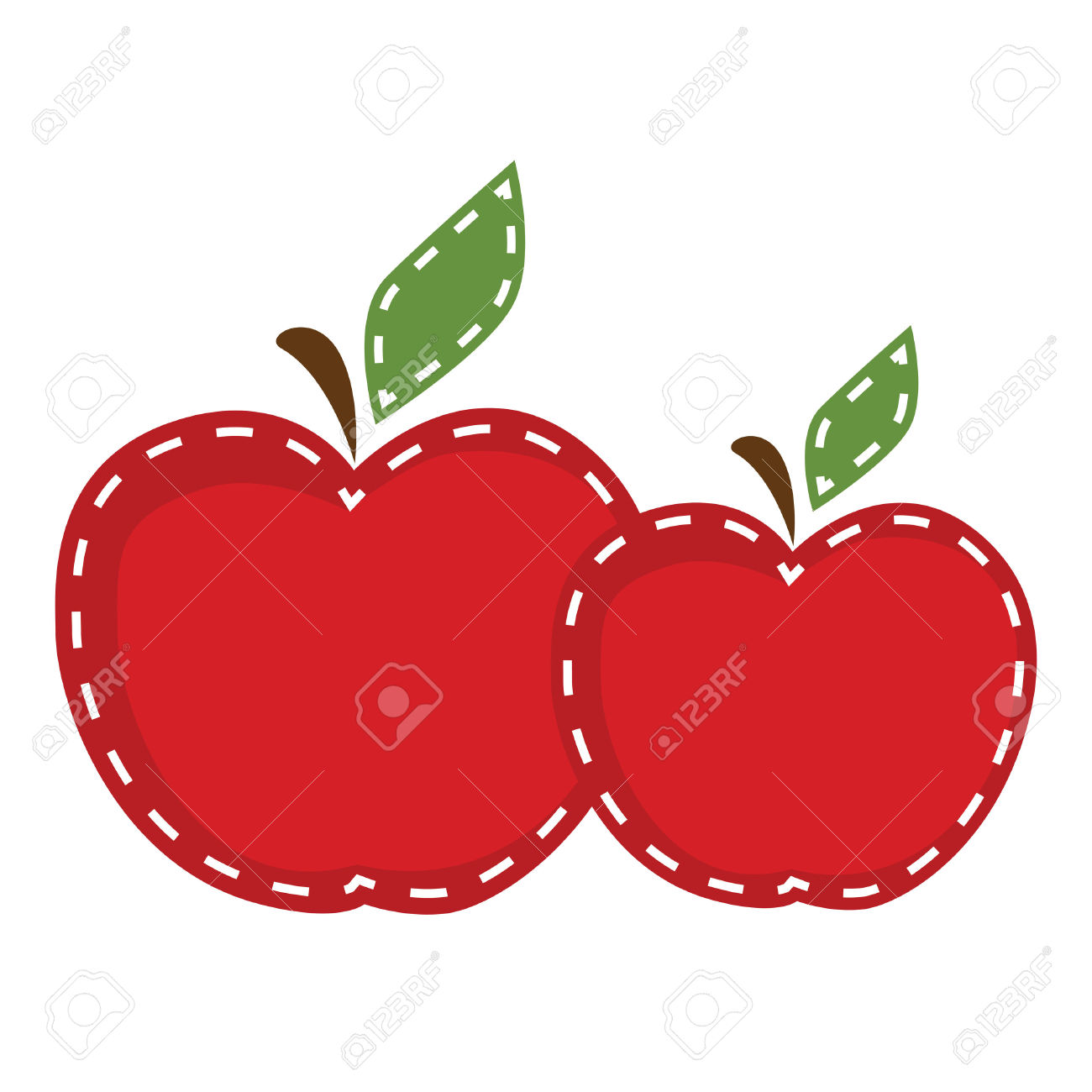 Two Apples With Cute Stitching On A Transparent Background, For.