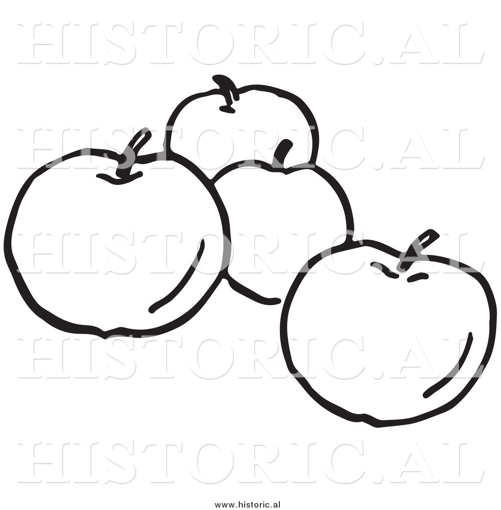 Black and White Apple Clipart Free.