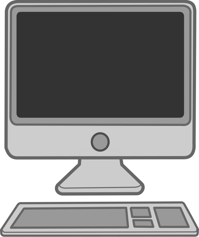 Apple computer clipart black and white.