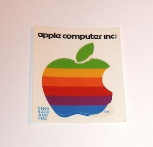 Details about Old Rainbow Apple Computer Logo Sticker.