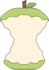 Green Apple Core Clip Art.