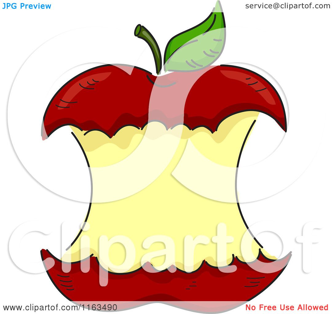 Cartoon of a Red Apple Core with Copyspace.