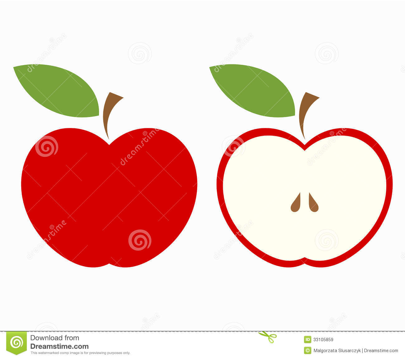 Half Apple Clipart.