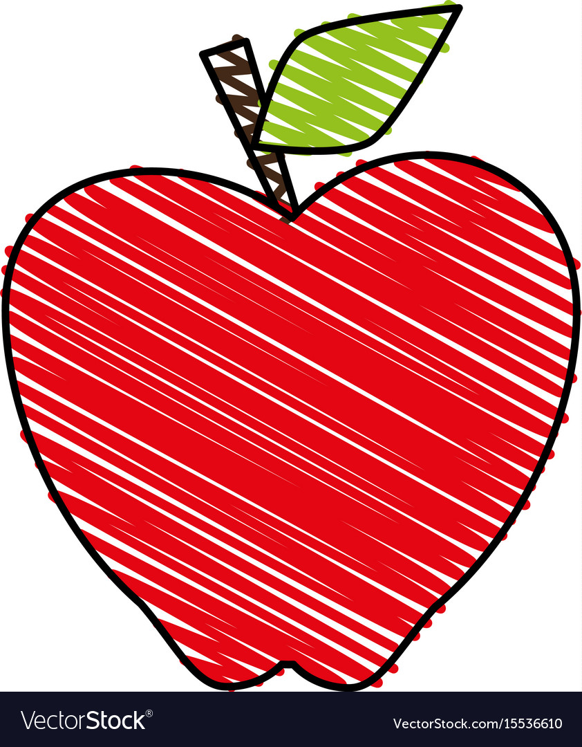 Apple doodle over white background.