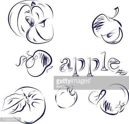 Apple Doodle Clipart Image.