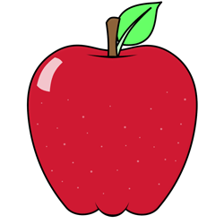 Cartoon apple drawing of the red delicious variety..