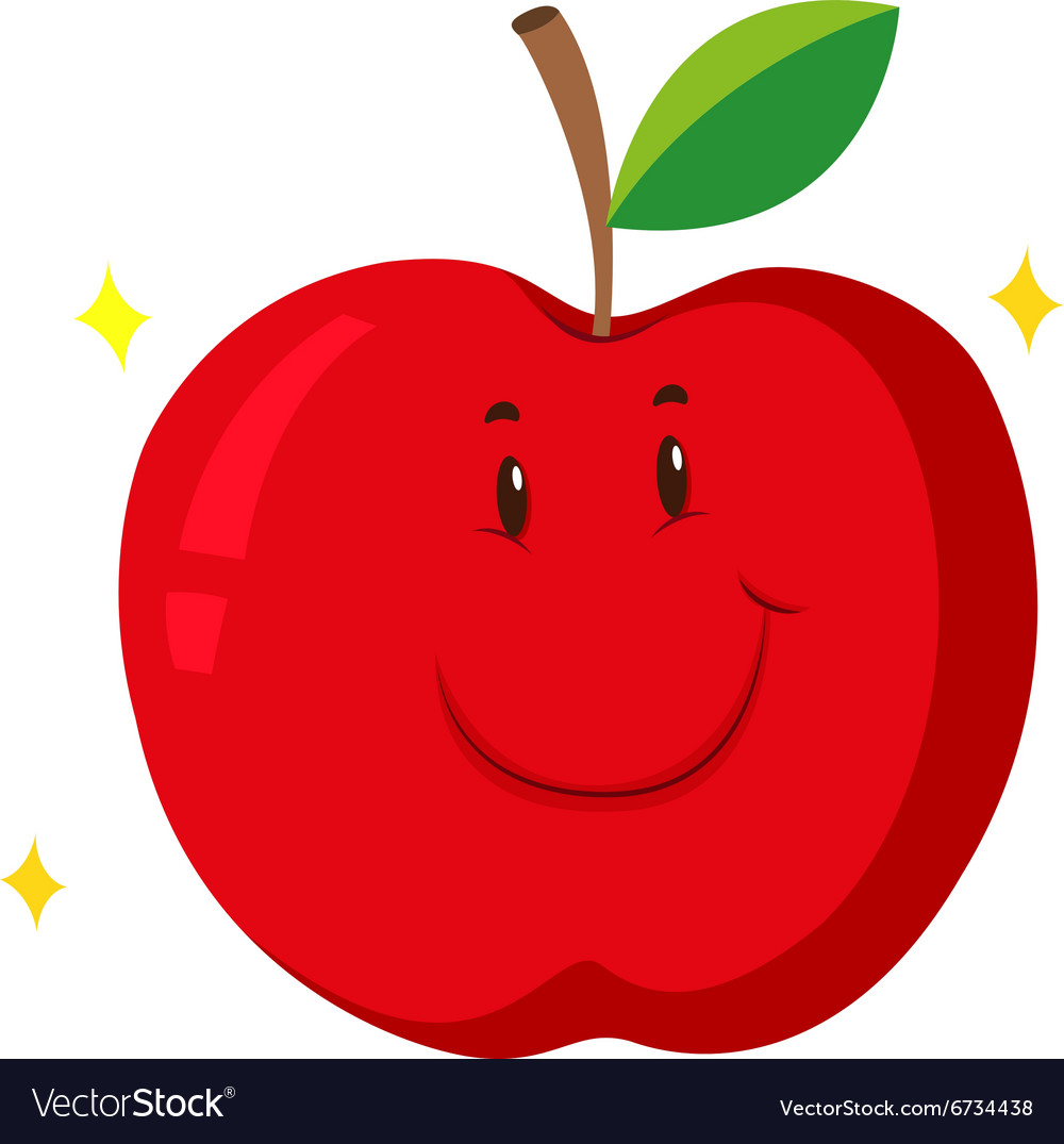 Red apple with happy face.