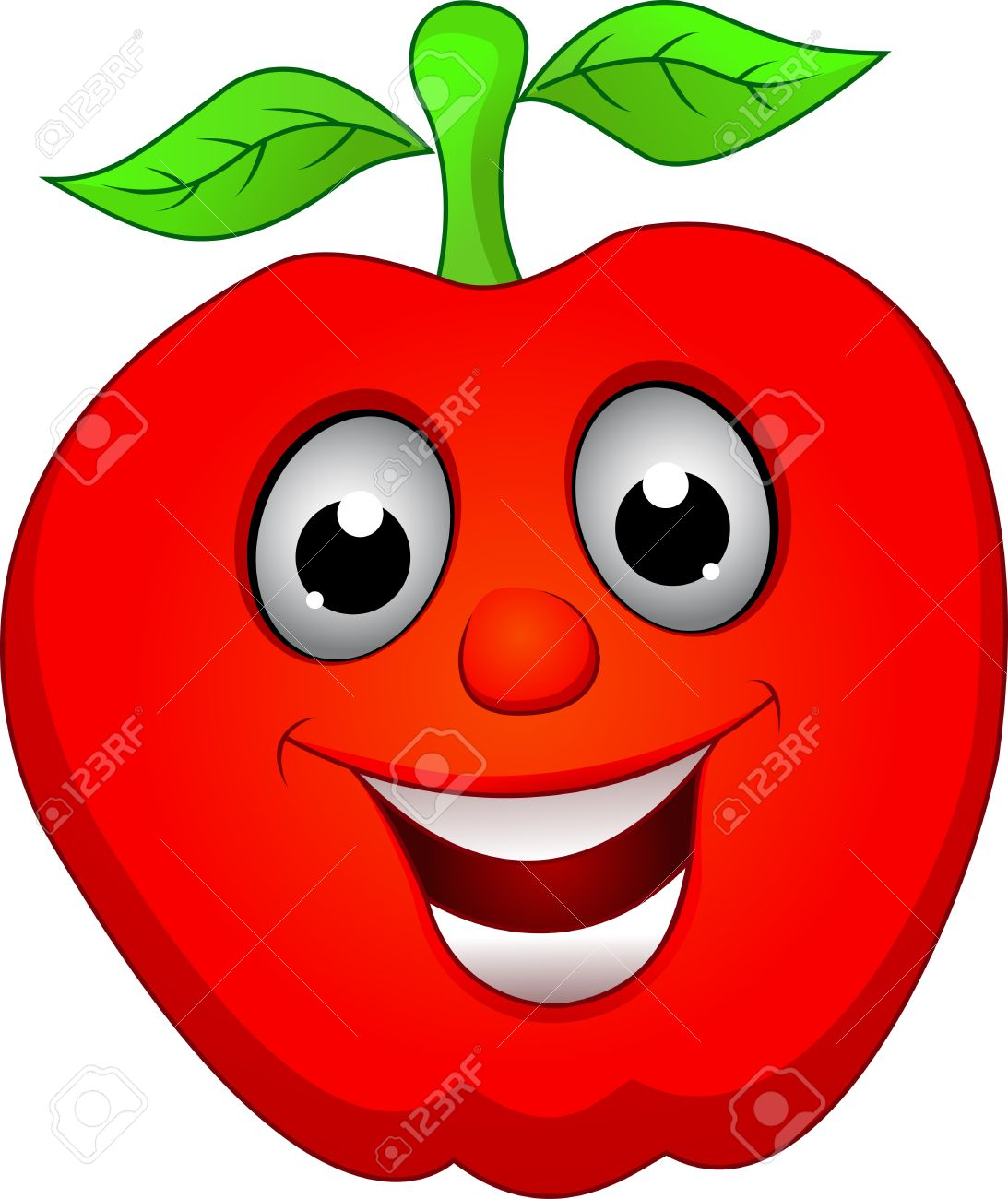 Clipart Apple With Face.