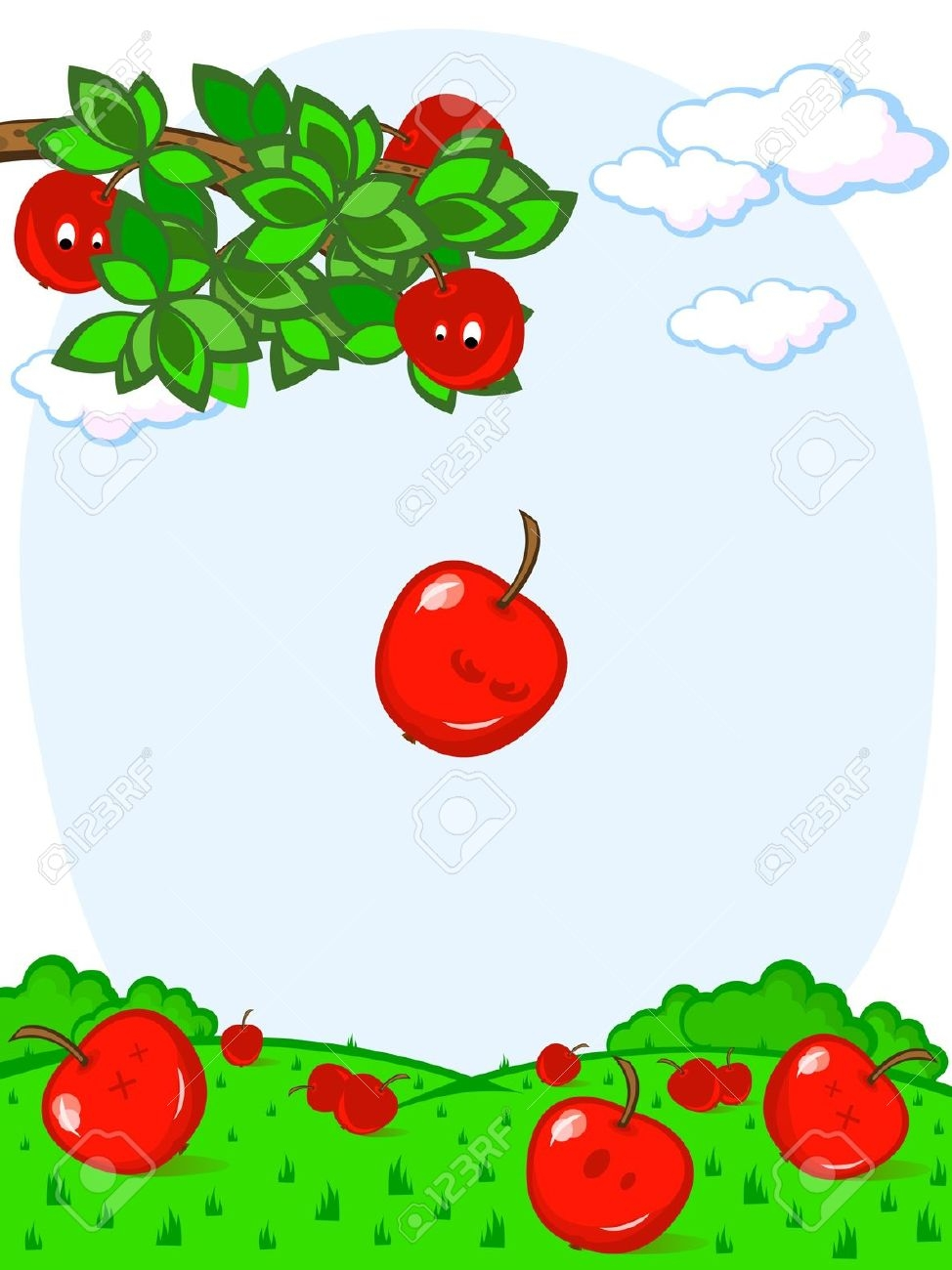 Apple Falling From Tree Clipart.