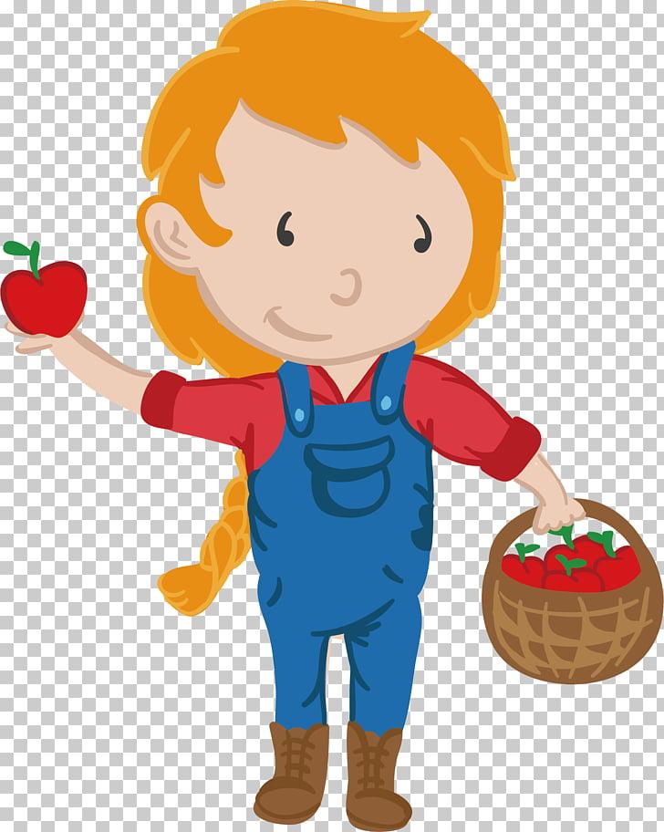 Apple Farmer, Children picking apple labor cartoon material.