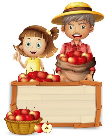 Farmer with apple on wooden baord.
