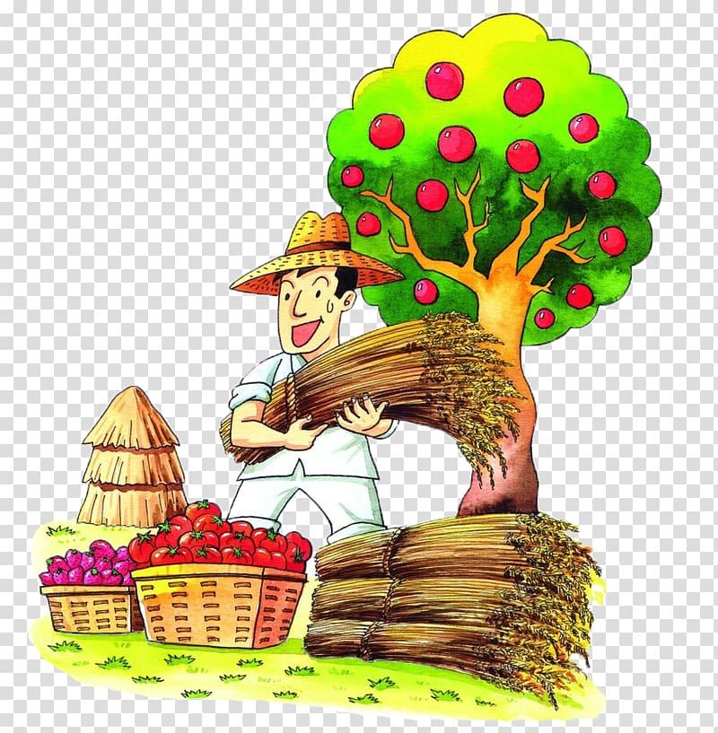 Farmer Cartoon Illustration, Harvested full of two baskets.