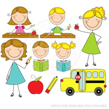 Apple for Teacher Stick Figures Cute Digital Clipart.