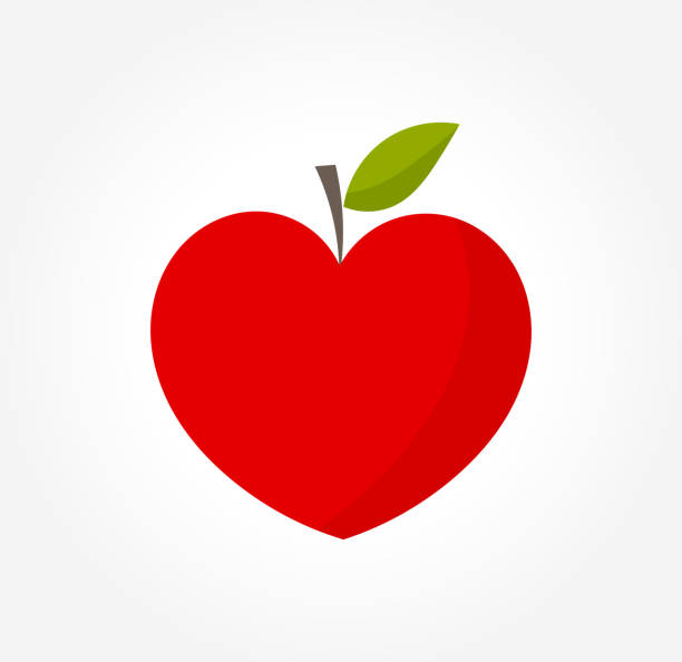 Heart shaped red apple » Clipart Station.