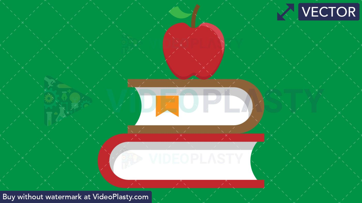 Books with Apple Flat Icon [VECTOR].