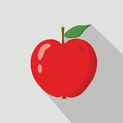 Red apple flat icon Clipart Image.