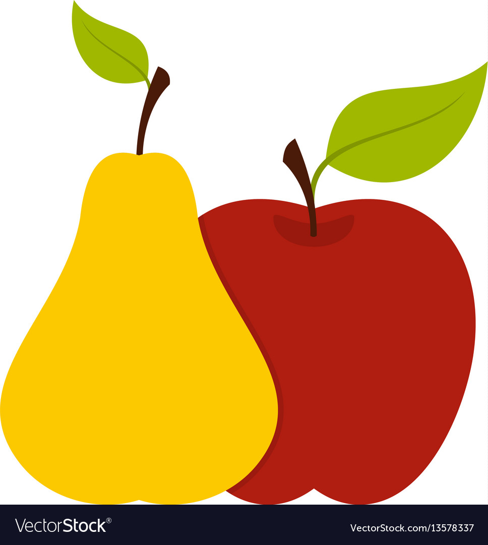 Apple and pear icon flat style.