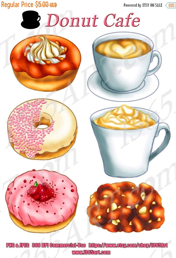 50% OFF Sale Donuts Cafe Clipart, Donut Clip art, Digital, Coffee.